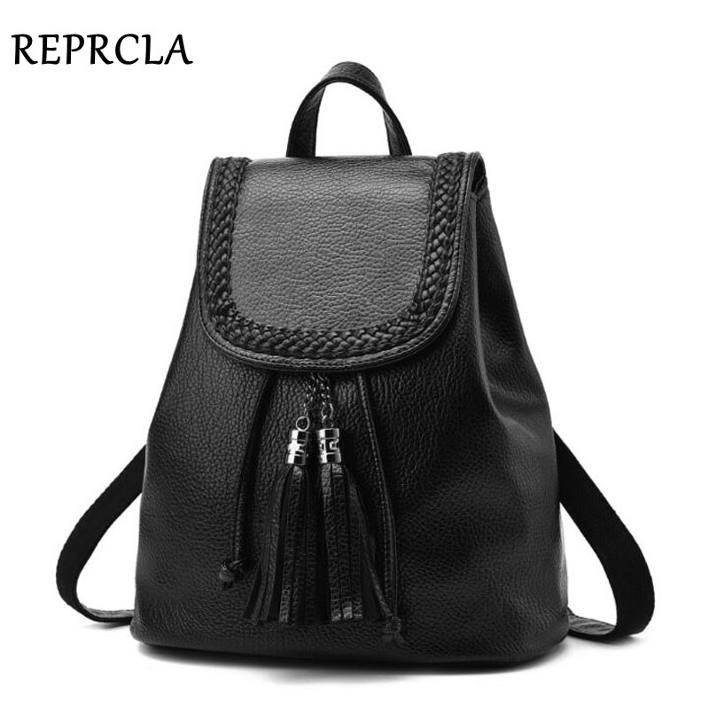 REPRCLA Fashion Tassel Women Backpacks School Bags for PU Կաշի - Ուսապարկեր