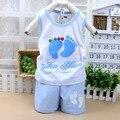 Baby Clothing Set Kids Foots Set Boys Casual Suits Children vest suit Girls Summer Sets 15 colors tops+short cartoon sets romper