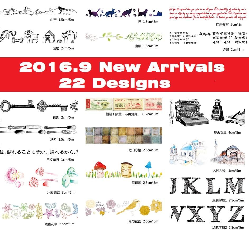 ₩22 diseños 15/25/40mm negro/letras/setas/Aves/gato/Flores patrón ...