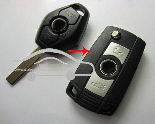 Prix pour 3 Boutons de Modification Pliant Flip Clé Shell Carénage Couverture Pour BMW 3 5 7 SÉRIE Z3 Z4 E38 E39 E46 À Distance Cas Fob Avec Logo