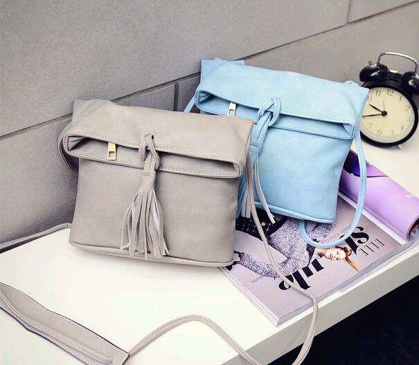 Solid Sweet Cute Flap Fashion Women Tassel Shoulder Bag Crossbody Bag Messenger Handbag new(Pink/White/Black/Light Blue/Gray)