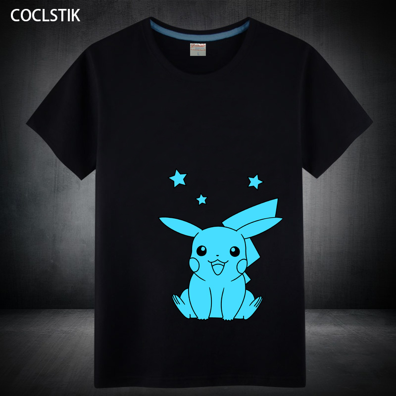 100% Cotton Fluorescent Pokemon Go T Shirt Mens/Kids Lovely Anime Tops Tees Pikachu T Shirt Male/Children Short T Shirts S-5XL