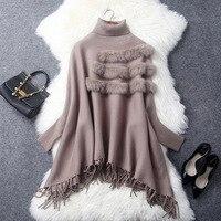 Loose Fringed Cloak Knitted tassels Cape Poncho Shawl batwing sleeved knit turtleneck jacket Pashmina 2018 New