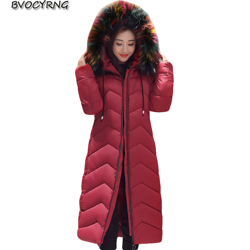 New Europe High Quality Down Cotton Women Winter Coat Fashion Color Heavy Hair Thick Jacket Long Slim Parka Warm Outerwear Q976 new winter women down cotton jacket long thick women coat padded fashion warm coat outerwear hood over coat slim coat jacket