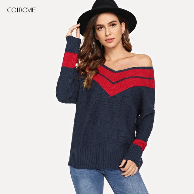 b841493bf1159 COLROVIE Plus Size Navy Off the Shoulder Two Tone Sexy Sweater Women Tops  2018 Fashion Pullover