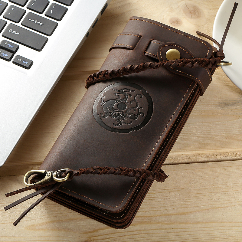 New Fashion Genuine Leather Men Long Wallet Business Card Holder Wallet Men Phone Bag Tiger Dragon Purse Boyfriend Birthday Gift elecall remote control switch 1 gang 2 way smart wall touch switch led indicator crystal glass switch panel sk a802 03eu