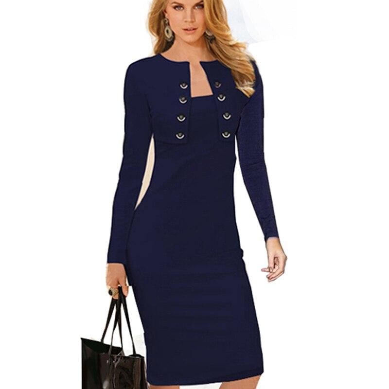 Otoño Invierno de las mujeres casuales de negocios de adelgazamiento vestidos manga larga elegante Oficina desgaste de trabajo EB10