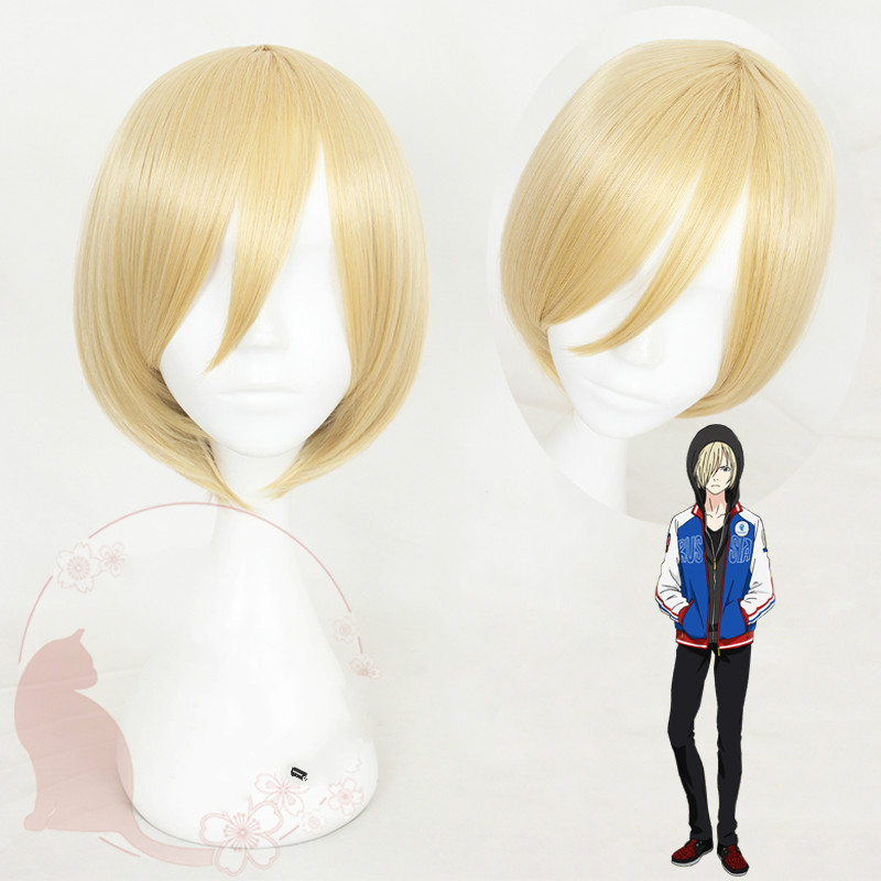 Anime YURI on ICE Yuri Plisetsky Cosplay Costume Men & Women Synthetic Hair Halloween Party Short Headwear+wig cap