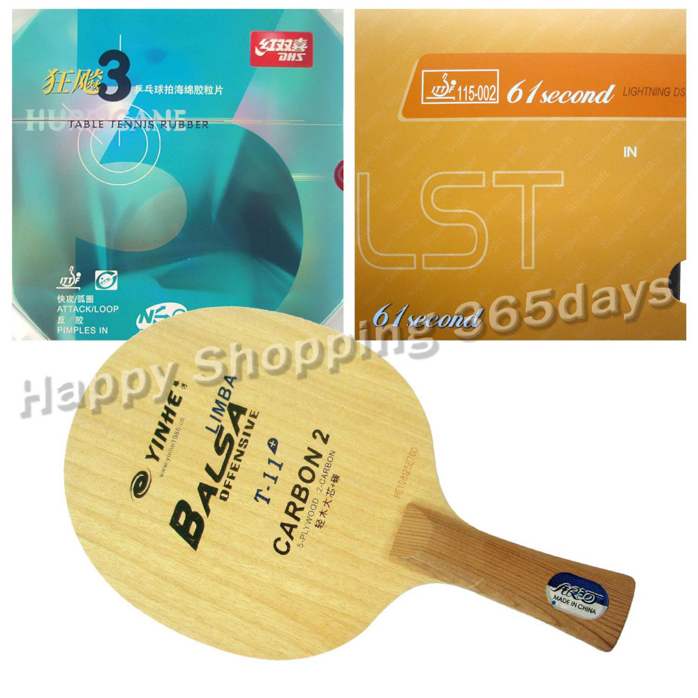 Pro Table Tennis PingPong Combo Racket Galaxy T-11+ with 61second Lightning DS LST and DHS NEO Hurricane 3 Long Shakehand FL galaxy yinhe emery paper racket ep 150 sandpaper table tennis paddle long shakehand st