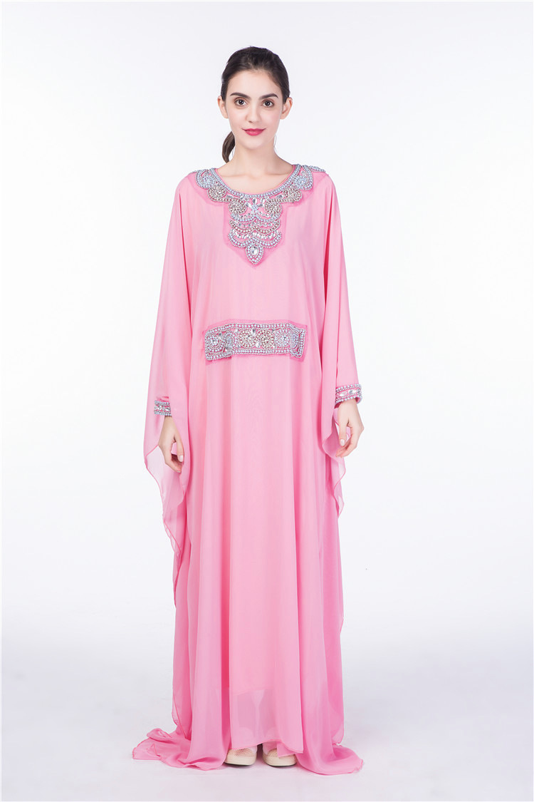 Caftan perlé Batwing manches longues robe Maxi musulmane parole longueur Kimono moyen-orient robes longues rose blanc vin