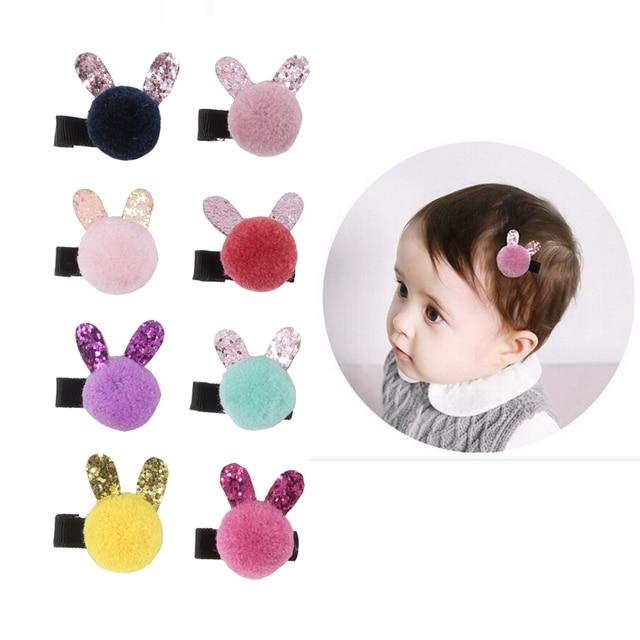 Cute 10pcs/lot Lovely Bow Barrette Baby Hair Clip Cartoon Rabbit Ball Hairpins Kids Girl Hairgrips Head Hair Accessories