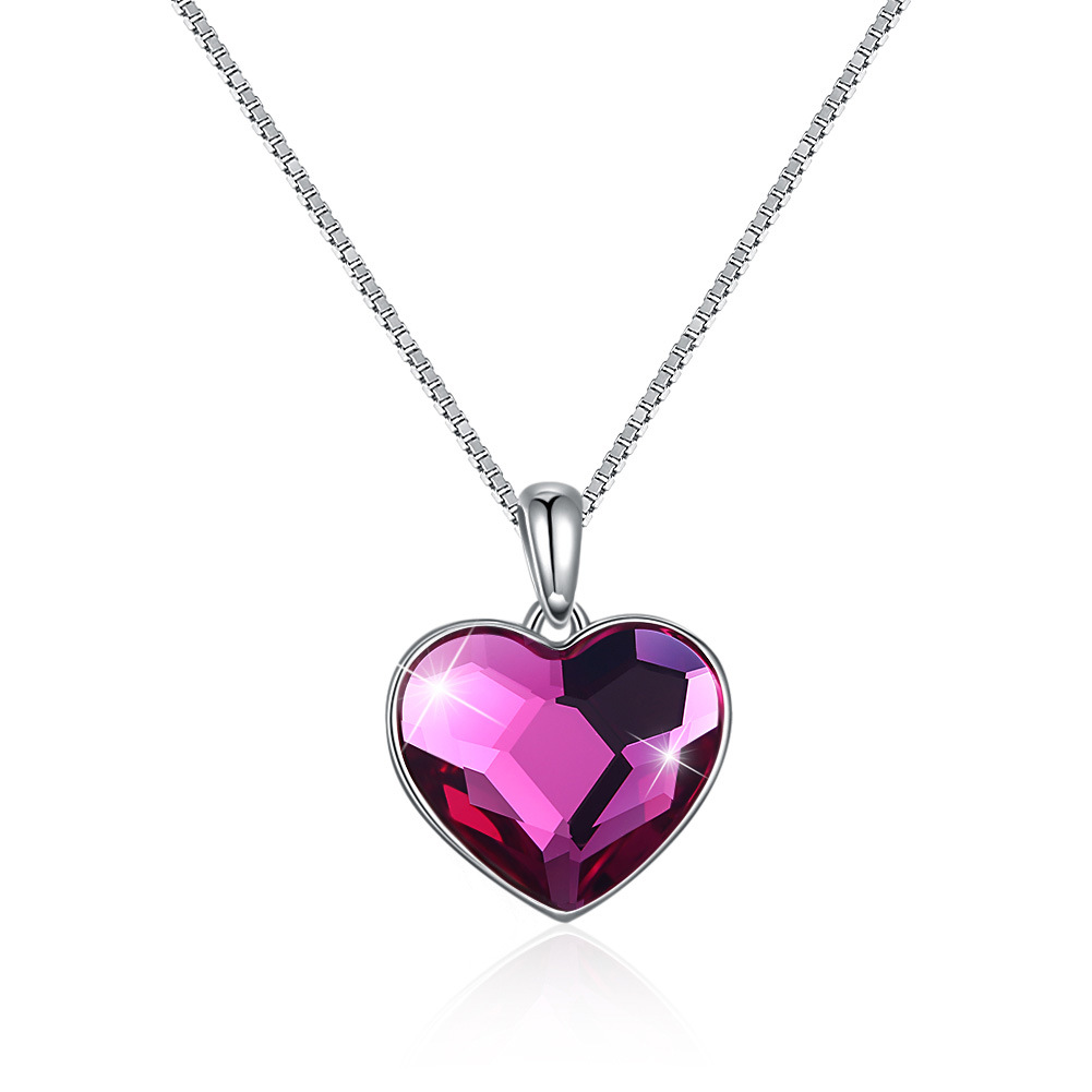Crystals from Austria necklace, sterling Silver 925 Love Heart pendant necklace, Fashion Jewely accessories wholesale