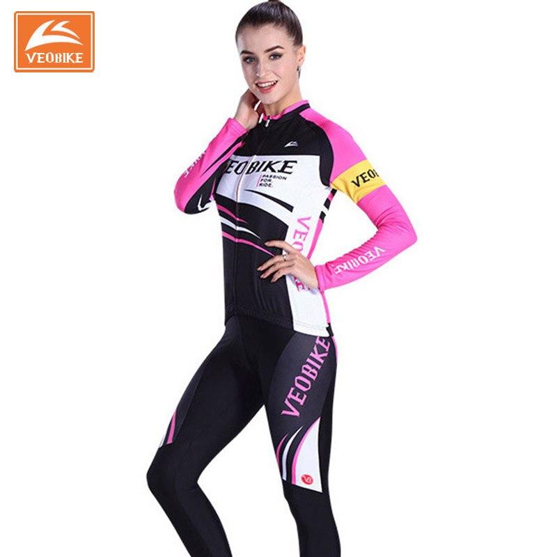 Prix pour VEOBIKE 2017 Vélo Jersey Femmes Automne Vélo À Manches Longues Vêtements Ensembles VTT Vélo Vêtements Roupas de Ciclismo Ensemble Pour Les Filles