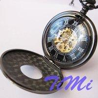 2010 New Black Classic Antique Roman Mechanial Pocket Watch Freeship Cool