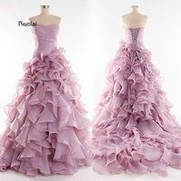 Romantic Light Purple Bridal Wedding Gowns Sweetheart Lace Up Organza Ruffle Wedding Dress Bridal Gown 2015