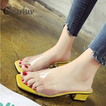 2019 summer new transparent fashion with slippers female sandals wear Korean version of the square C0838