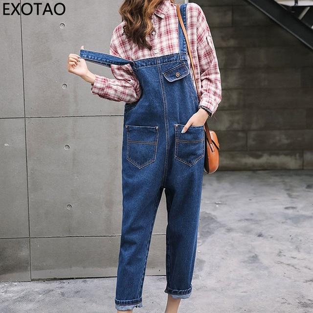 c54024fe7700 Boyfriend Jeans Jumpsuits Women Casual Loose Denim Overalls Combinaison  Femme Pockets Ladies Rompers Womens Wide Leg