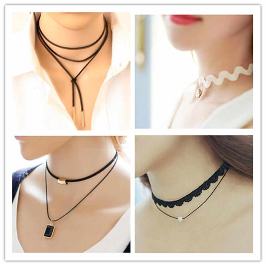 Novo muitos estilos de cristal do punk curto rendas camada múltipla borla clavícula tatuagem gargantilha colar bijoux pingente para jóias femininas