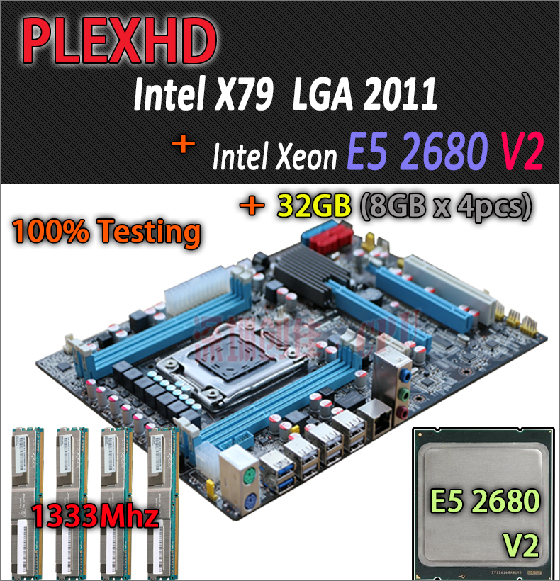 for Intel Xeon X79 motherboard CPU RAM combos LGA 2011 E5 2680 V2 SR1A6 memory 4 x 8GB 32GB 1333Mhz DDR3 REG ECC 8G 32G DDR3 2 x b ddr ddr2 ram memory cooler heat spreader heatsink z09 drop ship