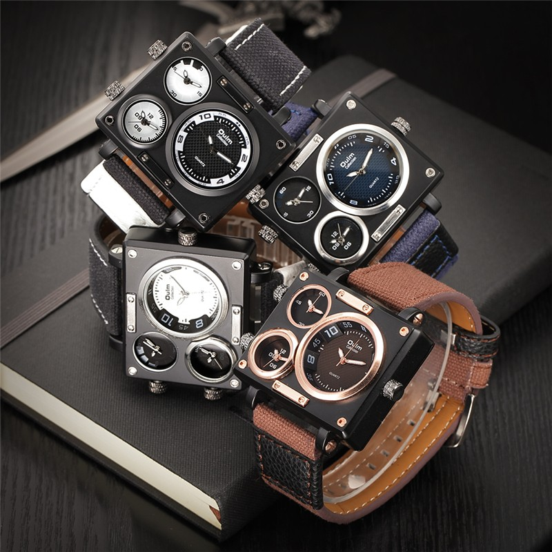 Multiple Time Zones Square Sports Men Brand Watches