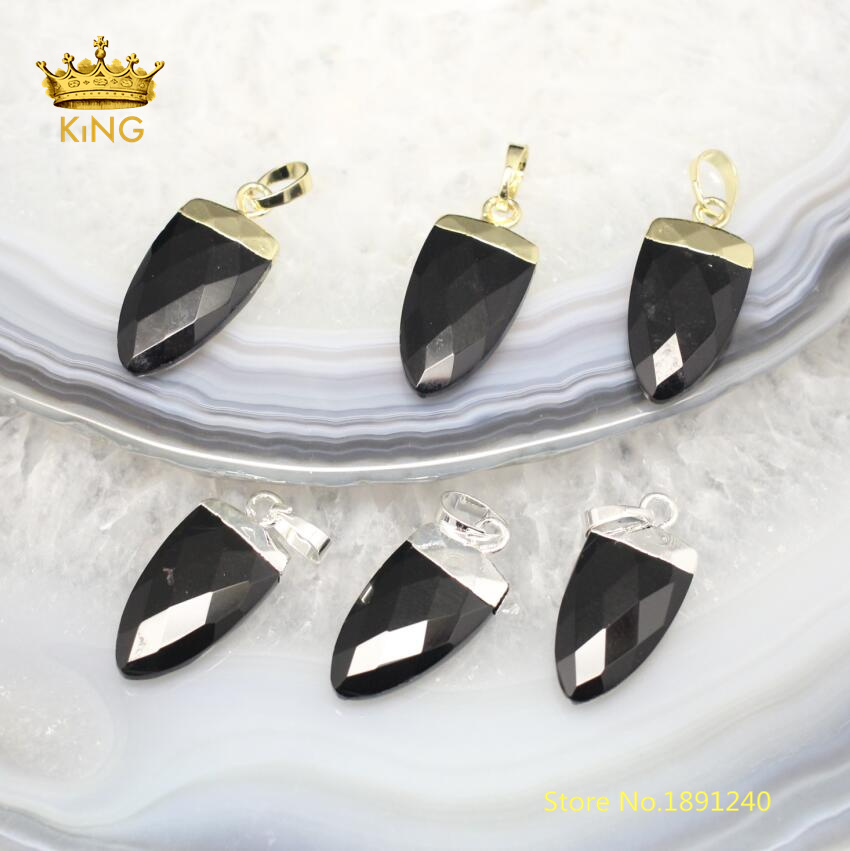 10pcs Natural Agates Faceted Arrow Pendants Jewelry Supplies,Black Achate Onyx Cut Charms Crafts Necklace Wholesale Bulk DSS68-8