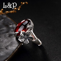 L&P Handmade Pure 925 Sterling Silver Ring For Women,Vintage Natural Gems Adjustable Ring Jewel For Wholesale Birthday Gift