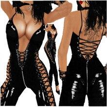 المرأة مثير الملابس الداخلية Catsuit PVC جلدية السيدات أسود مثير اللاتكس سستة المنشعب ارتداءها زي المثيرة Clubwear زائد حجم M 3XL