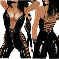 Frauen Sexy Lingerie Catsuit PVC Leder Damen Schwarz Sexy Latex Zipper Gabelung Bodysuit Kostüm Erotische Clubwear Plus Größe M-3XL