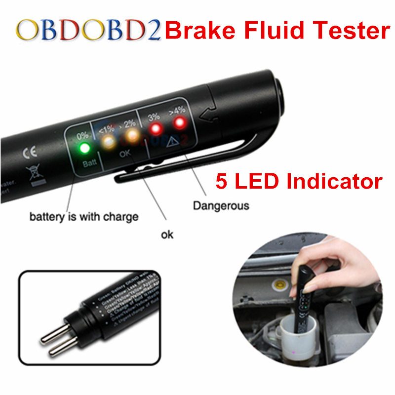 Auto Car Liquid Testing Brake Fluid Tester Check Car Crake Oil Quality LED Indicator Display For Car Care Free Shipping