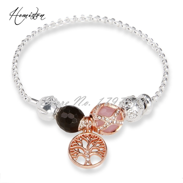 Thomas Sherry Blossom, Pink Maharani Bead Bracelet with A Filigree Charm, Love and Forever, TS Bracelet For Women