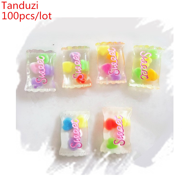 Tanduzi 100pcs Wholesale Japanese Kawaii Flatback Resin Cabochons Simulation Food Sweet Candy DIY Home Decoration Resin Crafts