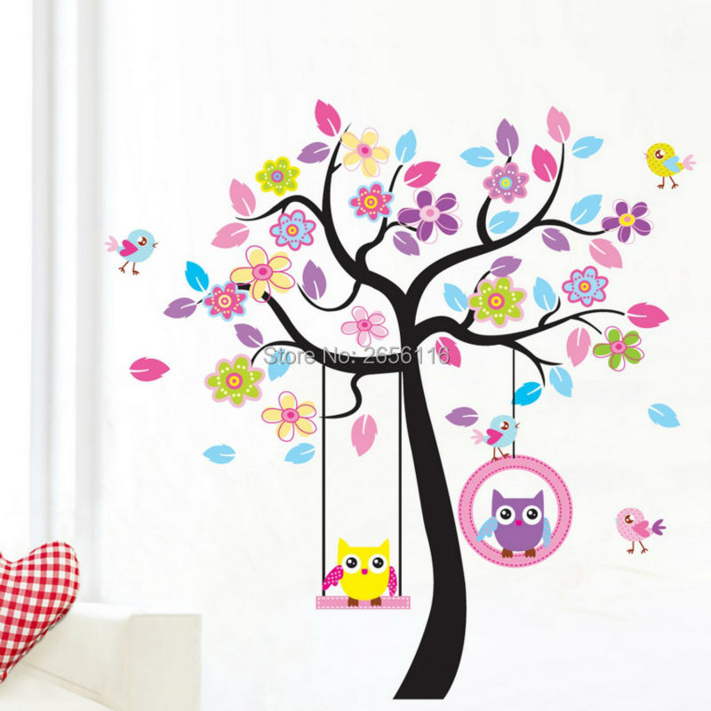 Cartoon Wall Stickers Birds Owls Tree Wall Decals for Kids Room Nursery  Decoration(China (