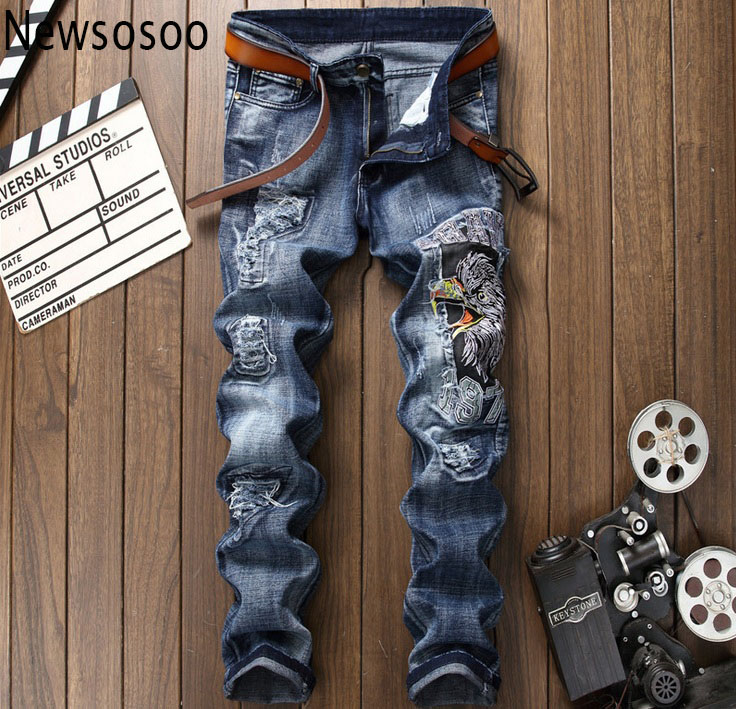 European American Style famous brand Men slim jeans denim trousers luxury Straight zipper blue jeans pants Nightclub super jeans 2017 fashion patch jeans men slim straight denim jeans ripped trousers new famous brand biker jeans logo mens zipper jeans 604