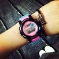 Милые Мода Цифровой СВЕТОДИОДНЫЙ Секундомер Резиновые Наручные Часы Подарочные Часы для Женщин Девушки Дети Черный Розовый OP001