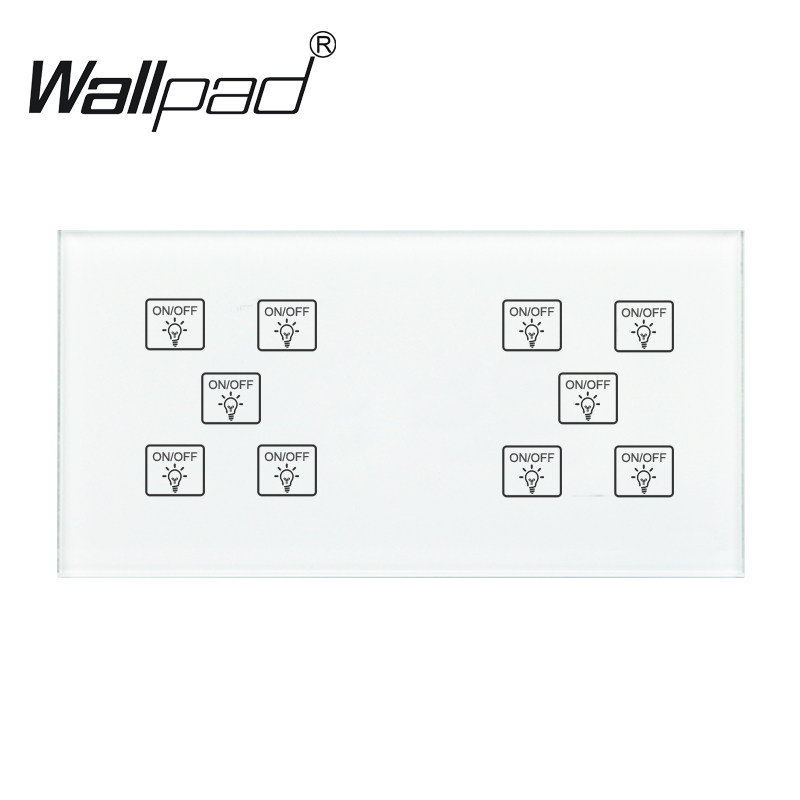10 Gang 1 Way Switch Wallpad 110 250V 172 86mm Crystal Glass Panel Customize DIY 10