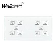 10 банд 1 переключатель Wallpad 110-250 В 172*86 мм кристальная стеклянная панель Настройка DIY 10 банд 1 способ сенсорный датчик DIY умный переключатель
