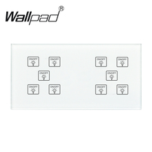 10 Gang 1 Way Switch Wallpad 110-250V 172*86mm Crystal Glass Panel Customize DIY 10 Gang 1 Way Touch Sensor DIY Smart Switch chint lighting switches 118 type switch panel new5d steel frame four position six gang two way switch panel