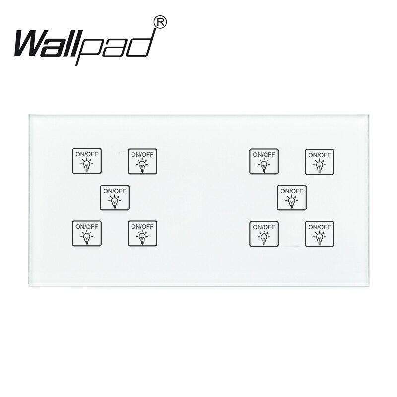10 Gang 1 voie commutateur Wallpad 110-250 V 172*86mm panneau de verre de cristal personnaliser bricolage 10 Gang 1 voie tactile capteur bricolage Smart Switch
