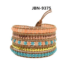 Pulseras de cuero Para Las Mujeres 2016 de Múltiples Capas de Pulseras y Brazaletes de La Joyería Bohemia Accesorios cuentas de piedras naturales JBN-9375