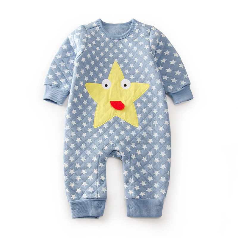 baby winter autumn cartoon stars quilted girl rompers newborn baby boy girl romper clothes jumpsuit baby roupa infantil menino