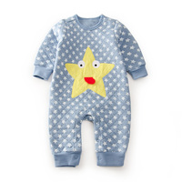 Baby Winter Autumn Cartoon Stars Quilted Girl Rompers Newborn Baby Boy Girl Romper Clothes Jumpsuit Baby