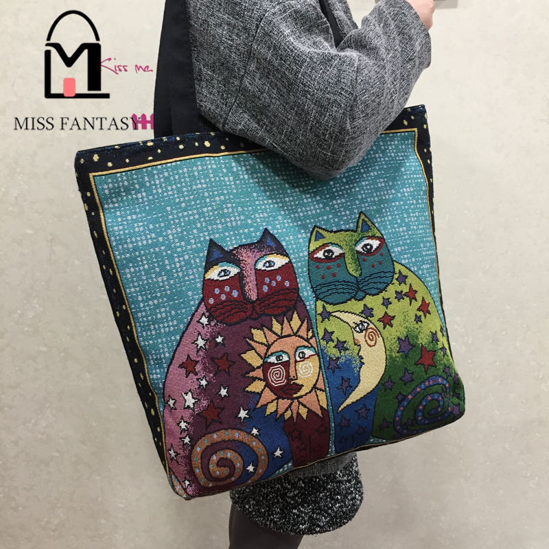 Women Bag Canvas Handbag Embroidery Lovely Cats Female Shoulder Bags Designers