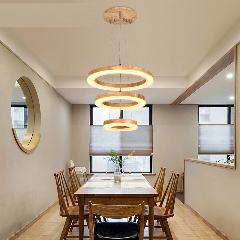 Solid wood Nordic living room Circle Pendant Lights Simple personality lighting bedroom bar creative restaurant ring modern japanese style solid wood bar simple led nordic pendant lights a1 log restaurant lights creative personality round wood za