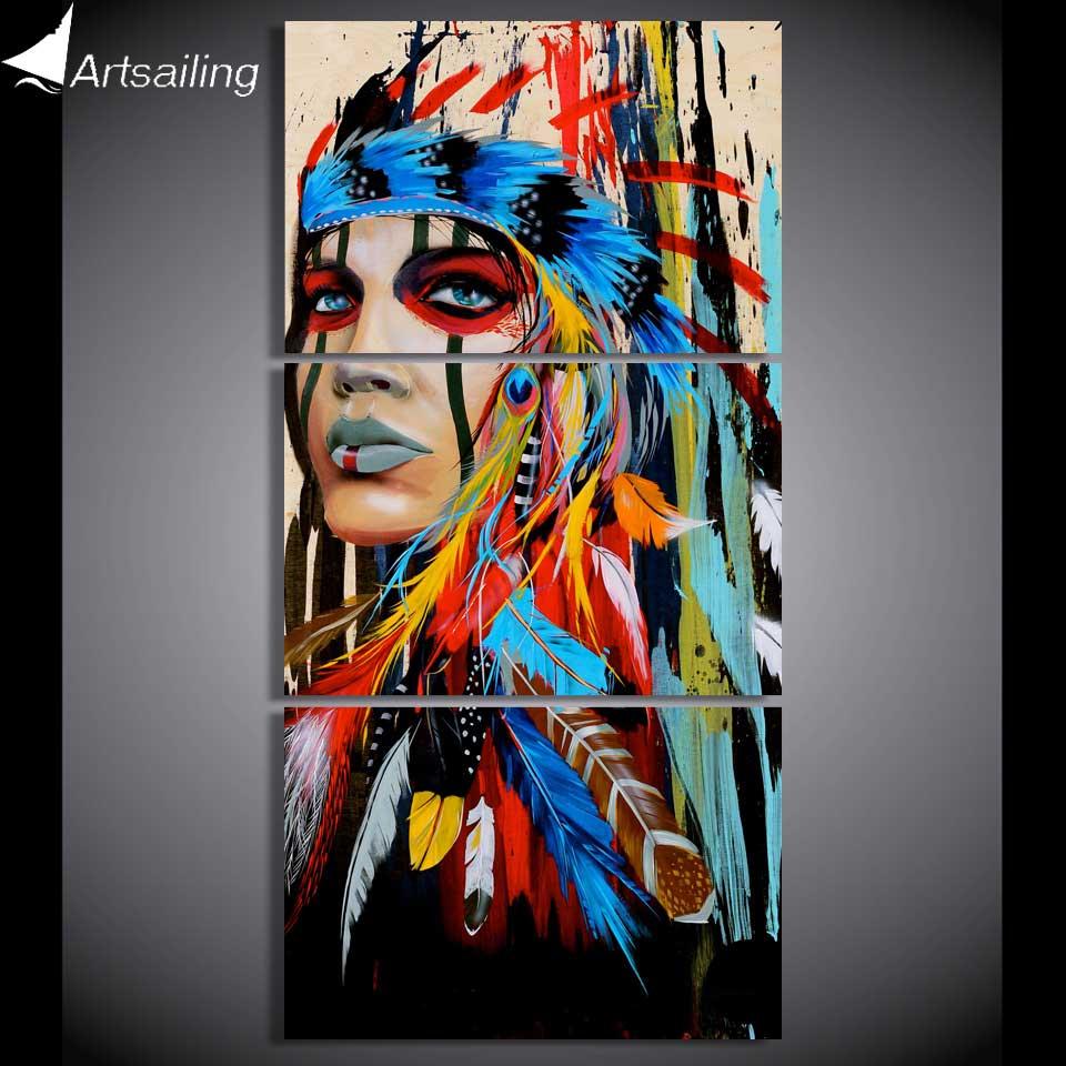 HD stampato 3 pezzo della tela di canapa di arte native American Indian con piuma Pittura picture parete per soggiorno 2018 dropshipping NY-5786