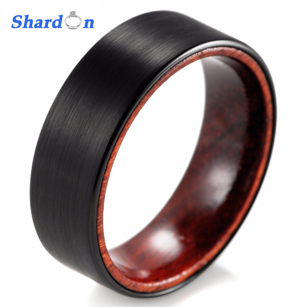 SHARDON 8mm Black Tungsten Inner Red Wood Ring With Matte
