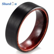 SHARDON 8mm Black Tungsten Inner Red wood Ring with Matte Finishing Mens Wood Rings/wood Wedding Band Men's wedding Band