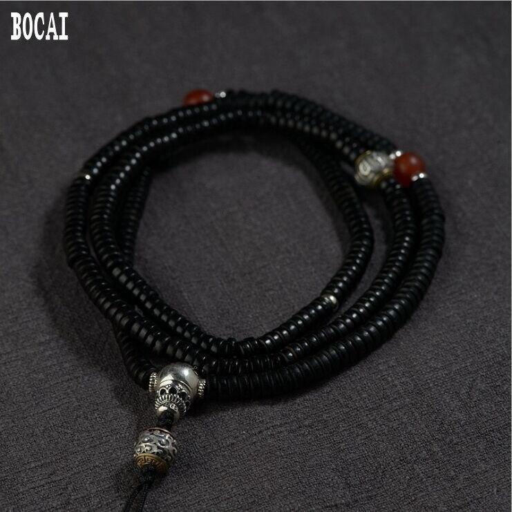 Collier en coquille de noix de coco S925 raccords en argent bricolage fait main pendentif de Culture bouddhiste avec chaîne longue chaîne en argent