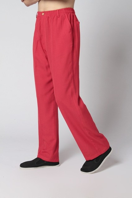 Novedad hombres Rojos Chinos Wu Shu Pantalones Masculinos Ropa de Algodón Tai Chi pantalón Kung Fu Pantalones Tamaño Sml XL XXL XXXL MP001