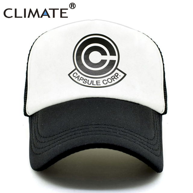 CLIMATE CAPSULE CORP. Trucker Caps Hat Men The Dragon Ball Z Mesh Caps  Super Saiyan 69cf987b06f