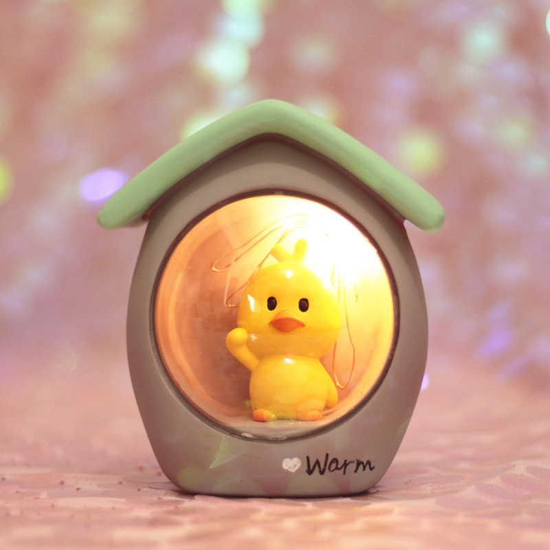 Смола маленькая Желтая утка звездный свет детская спальня ночник прикроватный Настольный Декор светодиодный светильник игрушка подарок на день рождения Рождество для детей